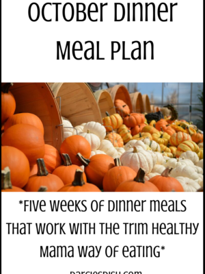 October Dinner Meal Plan