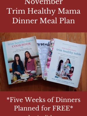 November 2020 Trim Healthy Mama Dinner Meal Plan
