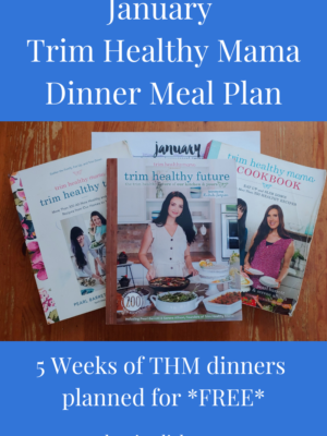 January 2021 Trim Healthy Mama Dinner Meal Plan